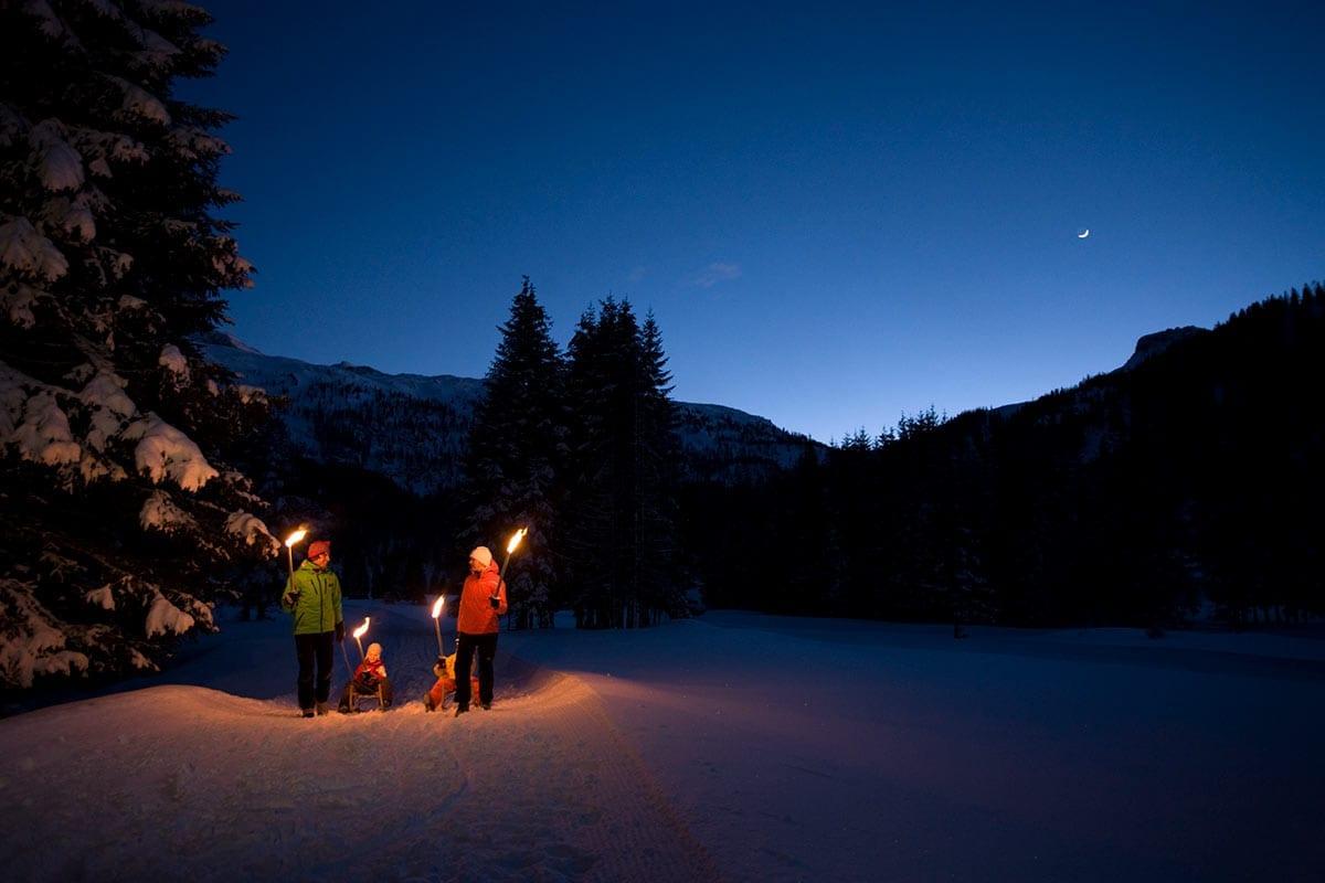 Fackelwanderung - Freizeitmöglichkeit auf der Gnadenalm in Obertauern